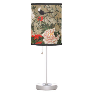 22. 牡丹小禽図, 若冲 Peonies & Small Birds, Jakuchū Table Lamps