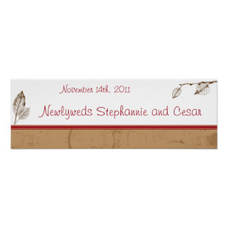 22 5 x7 5 Personalized Banner Brown Leaves Poster
