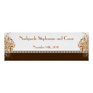22 5 x7 5 Personalized Banner Damask Autumn Posters