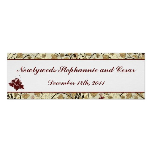 """22.5""""x7.5"""" Personalized Banner Fall Floral/Branche Poster"""