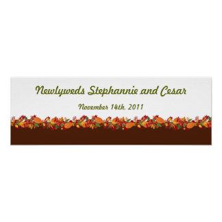 "22.5""x7.5"" Personalized Banner Fall Foliage Leaves Poster"