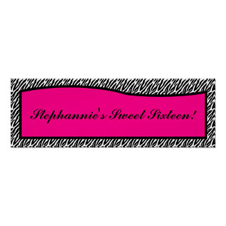 "22.5""x7.5"" Personalized Banner Hot Pink Zebra Prin Poster"