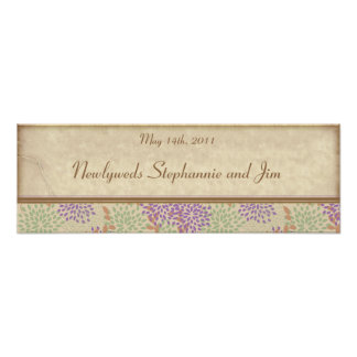 "22.5""x7.5"" Personalized Banner Purple/Green Floral Poster"