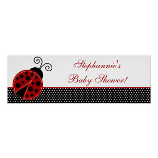 "22.5""x7.5"" Personalized Banner Red Ladybug Poster"