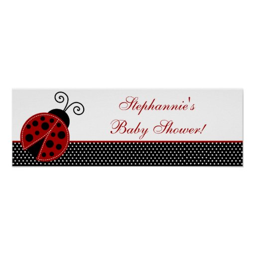 "22.5""x7.5"" Personalized Banner Red Ladybug Print"