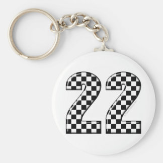 22 auto racing number basic round button keychain