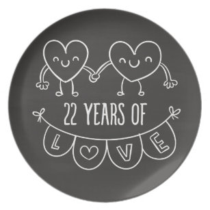22nd Anniversary Gift Chalk Hearts Plate  sc 1 st  Zazzle & 22nd Wedding Anniversary Gifts | Zazzle.ca