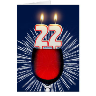22nd Birthday with wine and candles Card