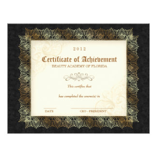 232 Certificate of Achievement Diploma Beauty Blak Letterhead