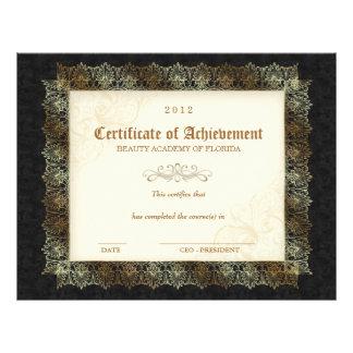 232 Certificate of Achievement Diploma Beauty Blak Letterhead