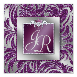 232 Elegant Wedding Leaf Floral Purple Sparkle Card