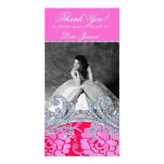 232 Quinceanera Sweet Sixteen Floral Lace Glitter Customized Photo Card