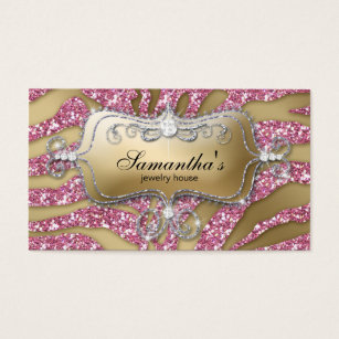 Luxury business cards business card printing zazzle ca 232 sparkle jewellery business zebra gold pink business card reheart Image collections