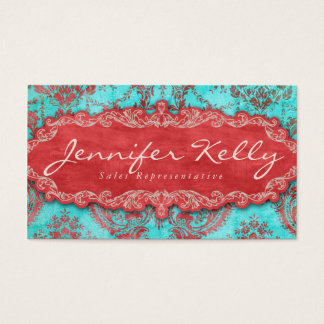 232 Vintage Business Card Damask Suede Blue Red