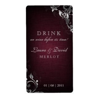 232 Vintage Wine Label Leaf Linen Burgundy Red Shipping Label