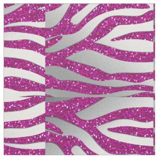 232 ZEbra Glitter Silver HOT Pink Fabric Pattern