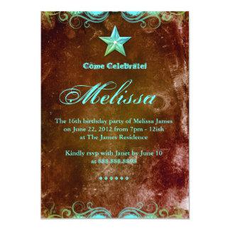 233 Western Sweet 16 Invitation Blue Brown Star