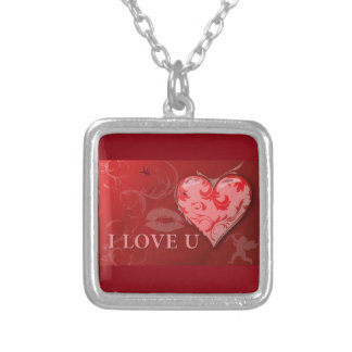 238920 RED LOVE YOU HEARTS KISSES ANNIVERSARY MARR SILVER PLATED NECKLACE