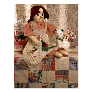 2390 Snowman Doll on Quilt Christmas Postcard