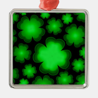 23 Four Leaf Clovers Silver-Colored Square Ornament