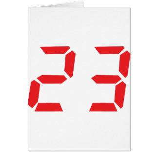 23 twenty-three red alarm clock digital number card