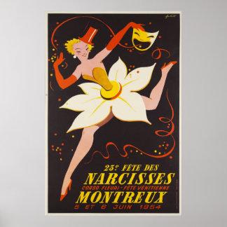 23e Fête des Narcisses,Montreux, Vintage Ad Poster