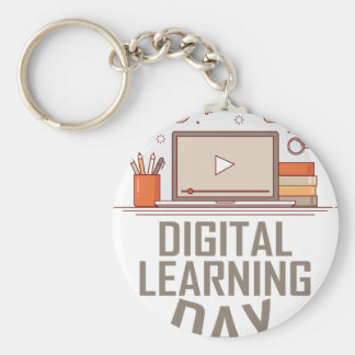 23rd February - Digital Learning Day Basic Round Button Keychain
