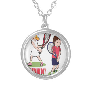 23rd February - Play Tennis Day - Appreciation Day Silver Plated Necklace