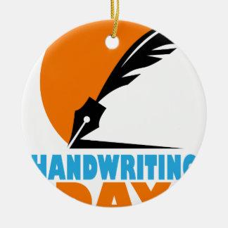 23rd January - Handwriting Day Round Ceramic Ornament