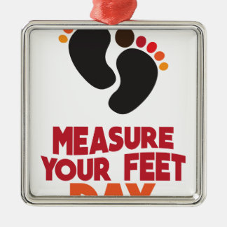 23rd January - Measure Your Feet Day Silver-Colored Square Ornament