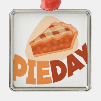 23rd January - Pie Day - Appreciation Day Silver-Colored Square Ornament