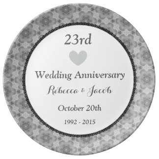 23rd Wedding Anniversary SILVER Pattern A23A Porcelain Plates
