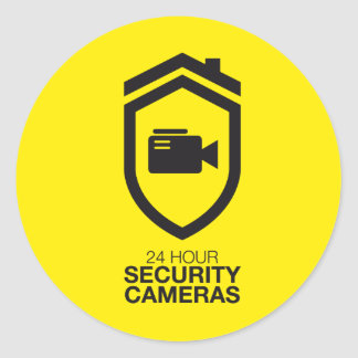 24 Hour Security Cameras Round Sticker