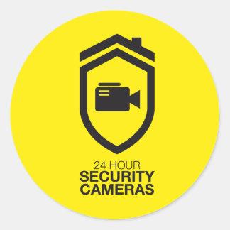 24 Hour Security Cameras Round Sticker