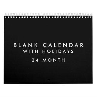 24 Months Blank Black Calendar With Holidays