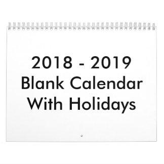 24 Months Blank Calendar 2018- 2019 With Holidays