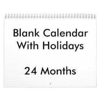 24 Months Blank Calendar With Holidays