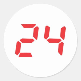 24 twenty-four red alarm clock digital number classic round sticker