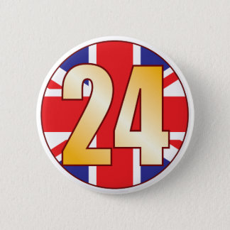 24 UK Gold 2 Inch Round Button