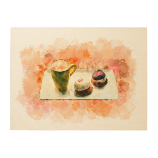 """24""""x18"""" Coffee and sweets painting Wood Wall Art"""