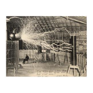 """24""""x18"""" Nikola Tesla in His Lab Wood Wall Art"""