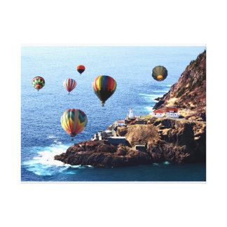 "24"" x 18"", 1.5"", Single Flying Hot air Balloons Ne Canvas Print"