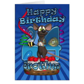24th Birthday Card For Brother - Funky Mouse On A