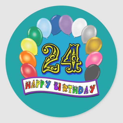 Happy 24th Birthday Helium Balloon Gifts With Assorted Balloons Design Round