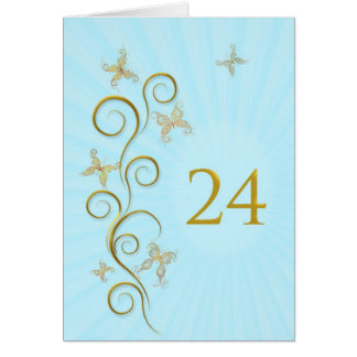 24th Birthday with golden butterflies Card