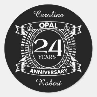 24TH wedding anniversary opal Classic Round Sticker
