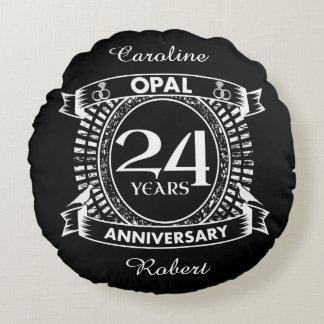 24TH wedding anniversary opal Round Pillow