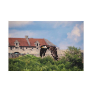 24x16 Bald Eagle passing Fort Ticonderoga Canvas Print