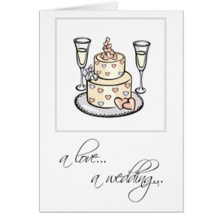 2598 Religious Cake Glasses Wedding Congratulation Card