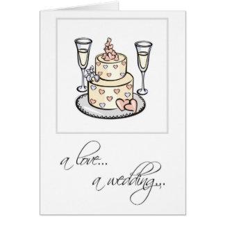 2598 Religious Cake Glasses Wedding Congratulation Greeting Card